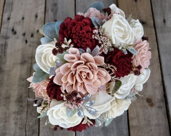 Burgundy Blush and Cream with Silver Accent Wood Flower Bouquet