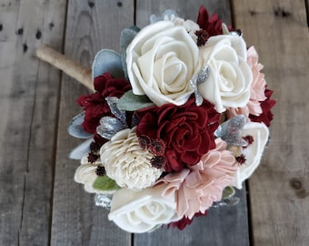 Burgundy Blush and Cream with Silver Accent Wood Flower Bridesmaid Bouquet
