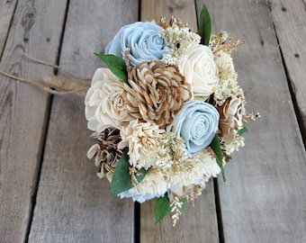 READY TO SHIP Rustic Glam Wood Flower Bridesmaid Bouquet with Copper Glitter, Cream, Bark, and Light Blue Flowers, Bridesmaid