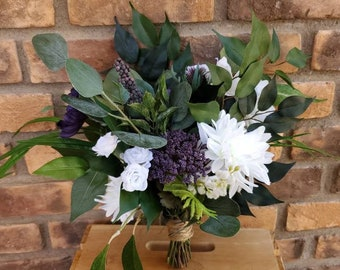 READY TO SHIP Plum and White Silk Flower Bouquet