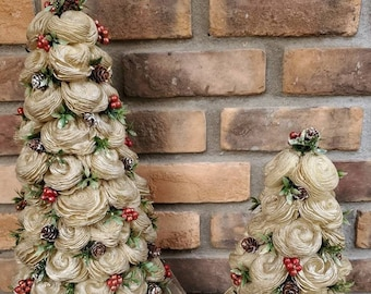 READY TO SHIP Gold Classic Wood Flower Christmas Tree with Gold Tipped Greenery, Pine Cones and Red Berries