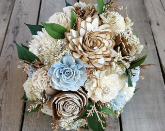 READY TO SHIP Rustic Glam Wood Flower Bridal Bouquet with Rhinestones and Copper Glitter, Light Blue, Cream, Bark Wood Flowers