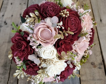 Burgundy Blush and Cream Wood Flower Bouquet with Gold Accents and Boxwood