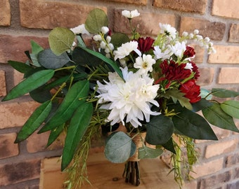 READY TO SHIP White and Red Silk Flower Bouquet