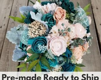 Sola Wood Flowers Wood Flower Bouquet in Mist Dark Teal Light Pink Peachy Pink Bridal Bouquet Wedding Bouquet Sola Flowers