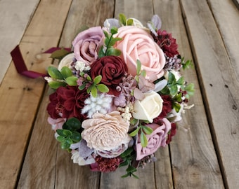 READY TO SHIP Blush and Burgundy Wood Flower Bouquet