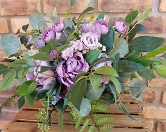 Dusty Lavender, Lilac, and Light Dusty Lavender Natural Style Premium Wood and Silk Flower Bouquet
