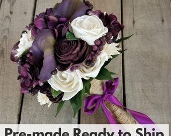 Sola Wood Flowers Wood Flower Bouquet for Wedding Calla Lilies Plum Bouquet Bridal Bouquet Elopement Fake Flower Bouquet
