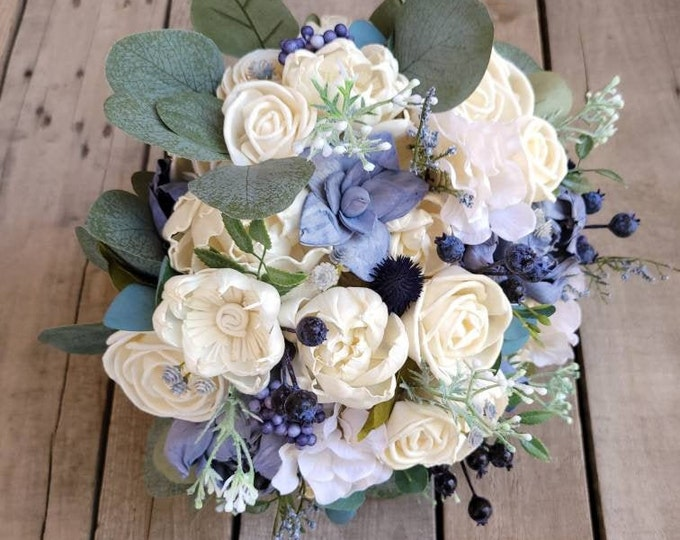 Featured listing image: Sola Flower Bouquet Wood Flower Bouquet Slate Blue Wedding Silver Dollar Eucalyptus Dried Flower Thistle Bouquet Sola Wood Flowers