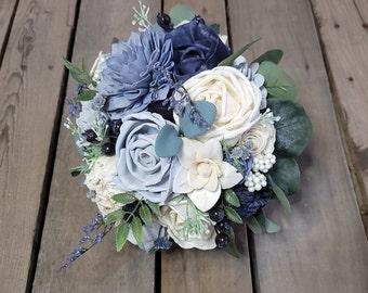 READY TO SHIP Slate Blue, Navy, and Light Dusty Blue Wood Flower Bouquet with Navy Thistle, Eucalyptus, Bridal Bouquet, Wedding, Elopement