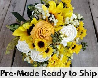 Sola Flower Bouquet Sunflower and Rose Wood Flower Bouquet, Baby's Breath, Eucalyptus, Sunflower Bouquet, Bridal Bouquet, Bride