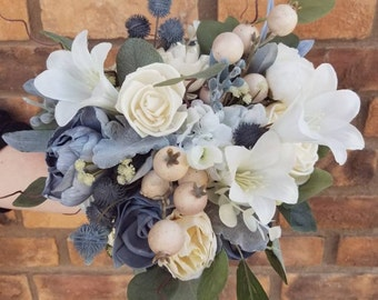 READY TO SHIP Slate Blue and Cream Wood Flower Bouquet with Silk Flower Lilies, Silver Dollar Eucalyptus, Bridal Bouquet, Thistle