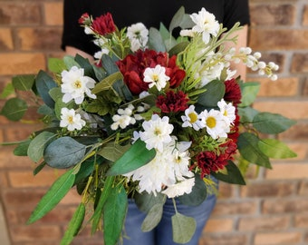 READY TO SHIP Red and White Silk Flower Bridal Bouquet with Eucalyptus, Carnations, and Dahlias