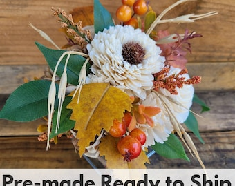 Rustic Fall Wood Flower Floral Arrangement with Flowers in Cream and Bark, Metal Tin Box, Centerpiece, Table Arrangement, Fall