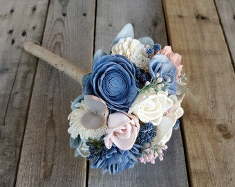 READY TO SHIP Wood Flower Bouquet with Slate Blue, Blush Pink, and Cream Flowers, Eucalyptus, Dusty Miller, and Lambs Ear