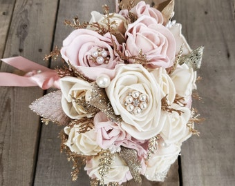 All Wood Rose Bouquet in Cream and Light Pink with Optional Feathers, Brooches, and Glitter, bridal bouquet, bridesmaid, quinceanera