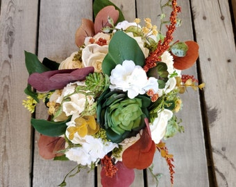 READY TO SHIP Fall Bridal Bouquet with Cream Wood Flowers, Artificial Succulents, Silk Hydrangea, Eucalyptus, Wood Flower Bouquet