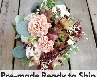 Burgundy, Blush, and Cream Wood Flower Bouquet with Burgundy and Blush Artificial Succulents, Bridal Bouquet, Eucalyptus