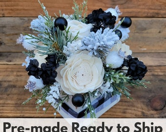 Wood Flower Christmas Inspired Floral Arrangement, Buffalo Plaid Centerpiece, Black and White, Home Decor