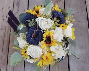 READY TO SHIP Rustic Sunflower and Wood Flower Bouquet with Navy Blue Flowers, Eucalyptus, Rustic Wedding, Bridal Bouquet, Elopement