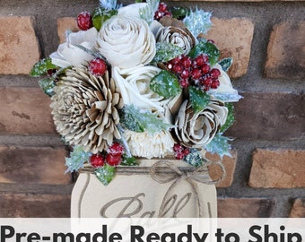 READY TO SHIP Gold Wood Mason Jar Sign with Wood Flowers in Cream and Bark, Holly, Frosted Berries, Christmas Greenery