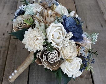 Sola Flower Bouquet Wood Flower Bouquet Navy Dusty Blue Wedding Dried Flower Bouquet Fake Flower Bouquet Sola Wood Flowers