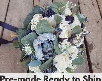 Sola Wood Flowers Premium Slate Blue, Navy, and Cream Wood Flower Bouquet with Eucalyptus and Navy Globe Thistle, Bridal Bouquet, Elopement