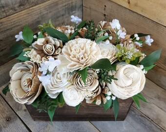 READY TO SHIP Rustic Wood Flower Centerpiece Box with Cream and Bark Wood Flowers and Baby's Breath