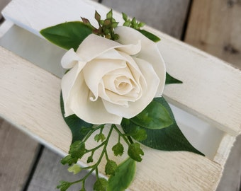 Premium Rose Wood Flower Boutonniere with Fern and Eucalyptus Seeds, Groom, Groomsmen, Father of the Bride, Father of the Groom, Ring Bearer