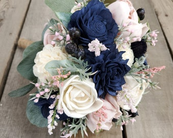 Light Pink, Blush, Navy, and Cream Wood Flower Bouquet with Blueberries and Navy Thistle, Bridal, Bridesmaid, Flower Girl