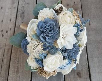 Sola Flower Bouquet Wood Flower Bouquet Dusty Blue Rustic Wedding Bouquet Slate Blue Wedding Thistle Eucalyptus Dried Flower Bouquet