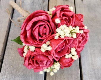 READY TO SHIP Red Rose and Baby's Breath Wood Flower Bouquet, Bridesmaid Bouquet, Flower Girl Bouquet, Quinceanera