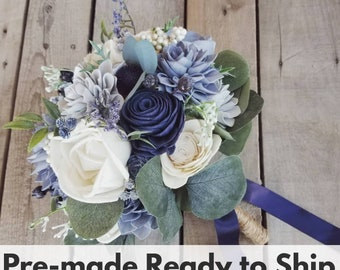Slate Blue, Navy, and Light Dusty Blue Wood Flower Bouquet with Navy Thistle, Eucalyptus, Bridal Bouquet, Wedding, Elopement