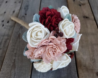 Burgundy Blush and Cream Wood Flower Bridesmaid Bouquet, Bridesmaid Gift, Flower Girl, Faux Flowers, Artificial Flowers, Lambs Ear