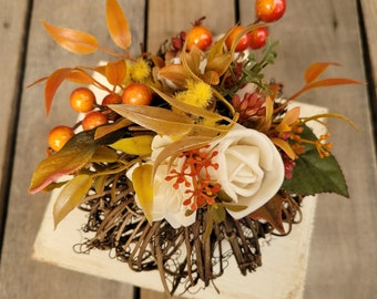 Fall Pumpkin with Wood Flower Floral Arrangement in Cream and Bark and Fall Leaves, Home Decor, Twig Pumpkin, Centerpiece Arrangement