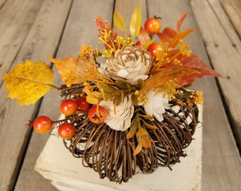 Fall Pumpkin with Wood Flower Floral Arrangement in Cream and Bark Flowers, Home Decor, Twig Pumpkin, Centerpiece Arrangement