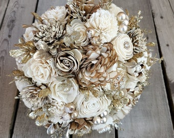 READY TO SHIP Bark and Cream Gold Brooch and Glitter Wood Flower Bouquet for bride or bridesmaid