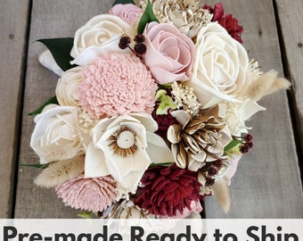 Burgundy, Blush, Raw Wood, and Cream Wood Flower Bouquet with Dried Bunny Tails, Baby's Breath, and Eucalyptus, Bridal