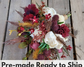 Fall Inspired Premium Wood Flower Bouquet with Burgundy Cosmos, Globe Thistle, Bridal Bouquet, Elopement, Artificial Flowers