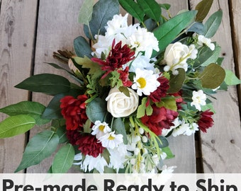 Natural Style Cream Wood Flower and Red Burgundy and White Silk Flower Bouquet, Bridal Bouquet, Eucalyptus