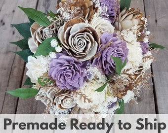 Sola Flower Bouquet Wood Flower Bouquet Rustic Wedding Bouquet Bridal Bouquet Brooch Glitter Bouquet Fake Flower Bouquet Ready to Ship