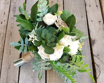READY TO SHIP Wood Flower and Succulent Bridal Bouquet with Cream and Bark Flowers, Fern, Silver Dollar Eucalyptus