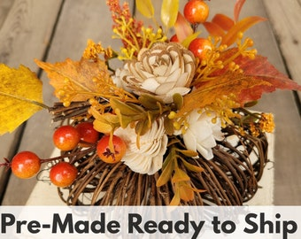 Sola Wood Flowers Fall Pumpkin with Wood Flower Floral Arrangement in Cream and Bark Flowers, Home Decor, Centerpiece Arrangement