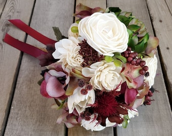 READY TO SHIP Cream Wood Flowers with Burgundy Silk Hydrangea, Green and Burgundy Succulent, and Burgundy Thistle, Fall Wedding, Bridal