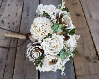 Cream and Bark Wood Flower Bouquet with Eucalyptus