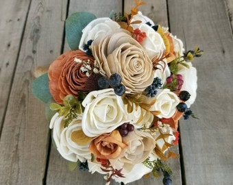 Sola Wood Flowers Wood Flower Bouquet Rose Gold Wedding Flowers Bridal Bouquet Fall Wedding Sola Flowers Wood Bouquet Dried Flower Bouquet