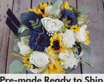 Sola Wood Flowers Rustic Sunflower and Wood Flower Bouquet with Navy Blue Flowers, Eucalyptus, Rustic Wedding, Bridal Bouquet, Elopement