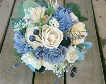 READY TO SHIP Slate Blue and Cream Wood Flower Bouquet, Silver Dollar Eucalyptus, Bridal Bouquet, Navy Blue Thistle, Blueberries, Elopement
