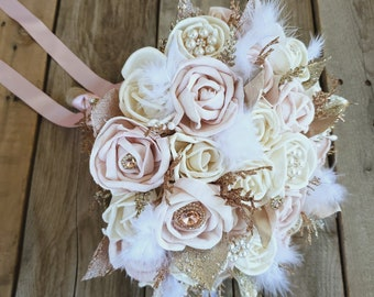 All Wood Rose Bouquet in Cream and Light Pink with Feathers, Brooches, and Glitter