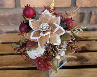 READY TO SHIP Rustic Fall Wood Flower Floral Arrangement with Flowers in Cream and Bark, Metal Tin Box, Centerpiece, Table Arrangement, Fall